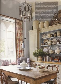 Window seat and wing chair in the kitchen.