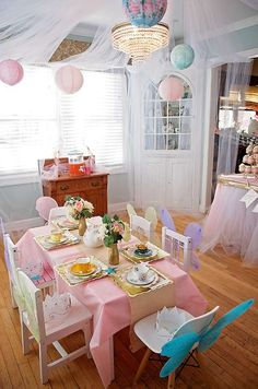 Lovely pastel party table at a garden birthday tea party! See more party planning ideas at CatchMyParty.com!