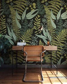 Botanical Greenery Peel and Stick Wallpaper – Fern Wallpaper Mural – Self Adhesive Wallpaper – Removable Wallpaper – Easy DIY Wall Mural Botanical Wallpaper Ferns Wallpaper Wall Mural Green Home Fern Wallpaper, Botanical Wallpaper, Wallpaper Designs, Wallpaper Decor, Office Wallpaper, Interior Wallpaper, Wallpaper Jungle, Botanical Bedroom, Botanical Interior