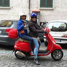 The Scootermaven and Sasha leading the @scooteromatours scooter squad this afternoon. #winterinrome #rome #italy #scooter #vespa by thebeehiverome