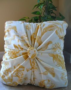 "Gathered pillow tutorial. Would use upholstery button in center instead of the ""poof""."