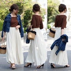 GU590円トップス×しまむら900円デニジャケでコーデ Uniqlo Skirts, Weird Fashion, Fashion Today, Beautiful Dresses, Tulle, Photo And Video, Denim, Outfits, Clothes