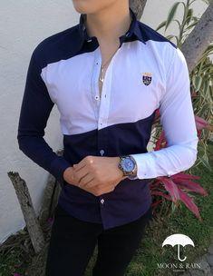 Camisa Premium Marino con Franja Blanca |Moon & Rain
