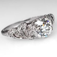 1920's Art Deco Engagement Ring Floral Filigree w/ Old Euro Diamond Platinum