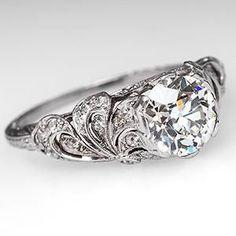 1920's Art Deco Engagement Ring Floral Filigree w/ Old Euro Diamond Platinum