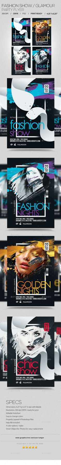 Fashion Show / Glamour Flyer Template PSD #design Download: http://graphicriver.net/item/fashion-show-glamour-flyer/13711887?ref=ksioks