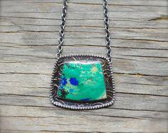 RESERVED (deposit) - Azurite chrysocolla necklace. Sterling silver chrysocolla azurite necklace. Modern large gemstone blue green pendant.