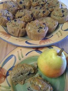 Blueberry Pear Muffins  Gluten free,oil free,sugar free, vegan :)