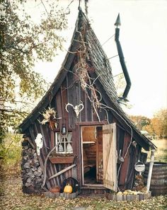"Building by The Rustic Way~Looks the cutest ""Witch house"" I've ever seen! Building by The Rustic Way~Looks the cutest Witch house I've ever seen! Witch Cottage, Witch House, Fairy Houses, Play Houses, Crooked Tree, Crooked House, Crooked Man, Tree House Designs, Drag"