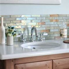 Fantastic tiles for bath or kitchen! Mother of pearl backsplash