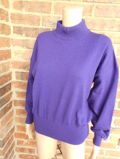 ESCADA Wool/Angora Sweater Size 40 L Women Crew Neck Top Purple Margaretha Ley #ESCADA #Crewneck