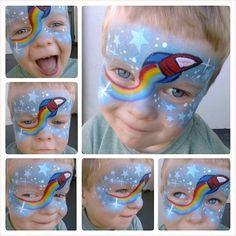Rocket Man- cool idea for using rainbow split cake on boys.
