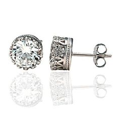 Alexandra: 8mm Russian Ice CZ Fancy Crown Set Stud Earrings 925 SS