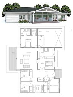 Modern house plan with vaulted ceiling in the living area. Covered terrace, four bedrooms. Floor plan from ConceptHome.com