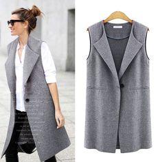 Womens Sleeveless Vest Jacket Long Coat Cardigan Gilets Vest Outwear C – liilgal Vest Coat, Suit Vest, Chaleco Casual, Ärmelloser Mantel, Long Duster Coat, Vestidos Chiffon, Langer Mantel, Long Vests, Women's Vests