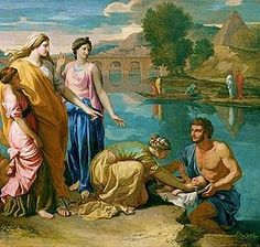 Nicolas Poussin's Moses rescued from the Nile (1638) shows Pharaoh's daughter, who is unnamed in the Bible, but called Bithiah in Jewish tradition.