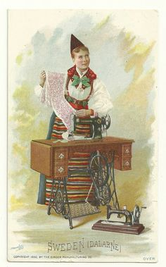 Singer sewing machine trade card - Swedish lady