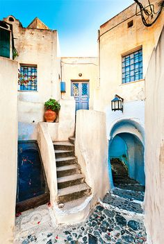 Pyrgos Village on Santorini Island in Greece