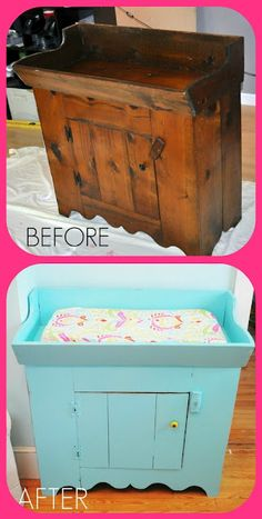 How to repaint/repurpose old furniture. Love this idea ffrom dry sink to changing table!
