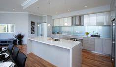 metallic blue splashback White Kitchen Backsplash, Wood Floor Kitchen, Kitchen Decor, Kitchen Design, Cocinas Kitchen, Splashback, Metallic Blue, Country Kitchen, Home Kitchens