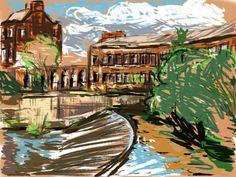 Craig Longmuir, 'Weir on The River Don from Ball Street Bridge' iPad drawing from observation using sketchbook pro.