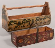 Two Kathy Graybill Painted Folk Art Tool Carriers.