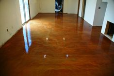 Indoor stained concrete floor. this summer