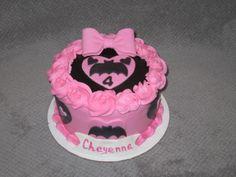 Girly pink Batman themed cake