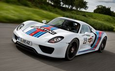 Photographs of the 2013 Porsche 918 Spyder Martini Livery. An image gallery of the 2013 Porsche 918 Spyder Martini Livery. Ferrari Laferrari, Lamborghini, Maserati, Porsche 918 Spyder, Porsche Autos, Porsche Cars, Martini Racing, Luxury Sports Cars, Sport Cars