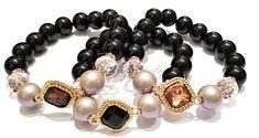 Rhinestone Beaded Bracelet Set, Bling, Stretchy, Black, OOAK, Minimalist, Custom Handmade Beaded Jewelry