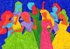 Abstracción terminada usando rotuladores de colores en una gama policromática. Logos, Painting, Art, Baccalaureate, Craft Art, Painting Art, Kunst, Paintings, Logo