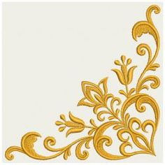 Embroidery Designs - Heart Floral Damask Corner 06(Lg)