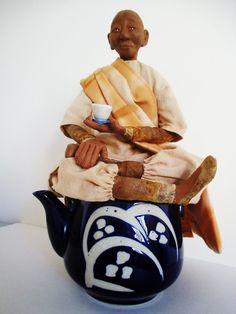 Bohea, inspired by Bohea tea - polymer clay and tea dyed fabrics, tea bags  Empress Wu Designs: Exhibitions  # tea bag art