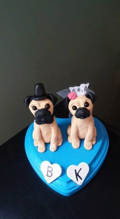 Custom Made Pug Wedding Cake Toppers /Bride and Groom/ Pug Dogs/ Dog Wedding/ polymer clay topper/ Custom made for you can be personalized by AntonisArtAsylum on Etsy https://www.etsy.com/listing/127540353/custom-made-pug-wedding-cake-toppers