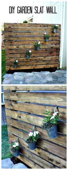 Here's a quick weekend project to help spruce up your back patio! Build this DIY Garden Slat Wall to help block eye sores in your yard and create more privacy.