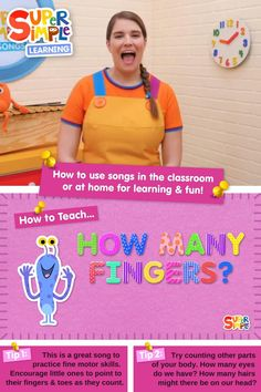 """Caitie demonstrates the gestures and shares some activity ideas for our song """"How Many Fingers?"""" Perfect for ESL, EFL, preschool, and kindergarten classes! Songs For Toddlers, Fun Games For Kids, Kids Songs, Kindergarten Songs, Preschool Songs, Easy Preschool Crafts, Toddler Preschool, Hello Song For Kids, Fun Learning"""