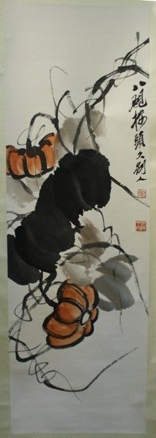 Chinese Sscroll painting of Pumpkins by Qi Baishi, (1864-1957), ink on paper