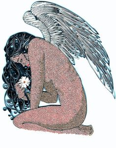 Quilled grieving angel