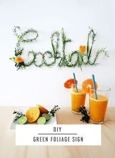 Sharing a quick and easy tutorial for how to create a DIY Green Foliage Sign for your home! It& perfect for hosting and entertaining by the bar. Cheap Home Decor, Diy Home Decor, Diy Wanddekorationen, Mur Diy, Diy Wall Decor, Decorating Blogs, Diy Party, Diy Tutorial, Diy And Crafts