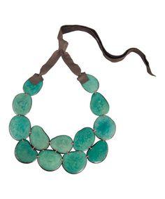 Look at this #zulilyfind! Teal Tagua Bib Necklace #zulilyfinds