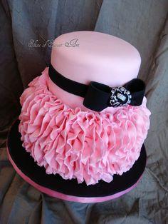 Pink Ruffle Birthday - Vertical Ruffles with black fondant ribbon & bow