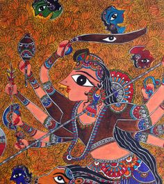 This Exclusive Painting depicts the underlying theme of Ma Durga and her personification of Good on Earth as it abolishes Evil in the form of Mahishasur. The Paintings Mythological theme is relevant till today we continue to fight internal an external evil in our lives.   Size: 34.5 Inch X 43.5 Inch Color: Acrylic on Canvas