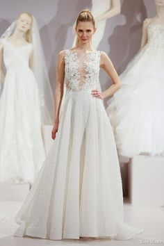 tony ward spring 2016 new york bridal market runway phyllis sleeveless a line wedding dress