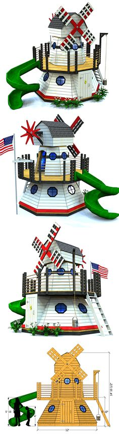 2 level windmill playhouse plan you can download and start building!