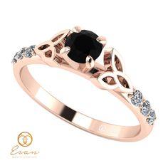 Inel de logodna din aur cu diamant negru si diamante ES103 Aur, Stone, Model, Jewelry, Fashion, Moda, Rock, Jewlery, Schmuck