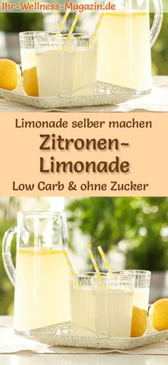 Zitronenlimonade ohne Zucker selber machen: Low-Carb-Rezept für selbstgemachte … Make lemonade without sugar yourself: low carb recipe for homemade lemonade without sugar – healthy, low in calories, fast and easy it Yourself # Summer drink free Summer Drink Recipes, Drinks Alcohol Recipes, Detox Recipes, Summer Drinks, Low Carb Recipes, Healthy Recipes, Healthy Smoothies, Healthy Drinks, Best Lemonade