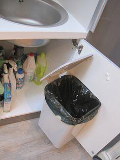 Under The Sink Trash Can On Pinterest Under Cabinet
