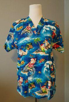 Peaches Uniform womens scrubs top size small Santa Claus Holiday Christmas  #Peaches Stylish Scrubs, Womens Scrubs, Scrub Tops, Peaches, Christmas Holidays, Santa, Men Casual, Mens Tops, Fashion