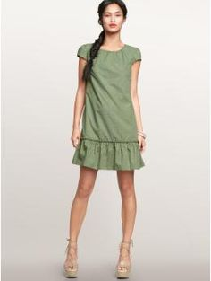 Something Similar: Anthropologie Laced With Grace dress and... | What Jess Likes (sewing inspo -- possibly burda style cap sleeve shift pattern with ruffle hem?)