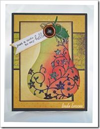 Shimmery Pear Memory Box Classic Pear die (98392), Embellished Pear die (98393), Just a Note Combo stamp (B1852) from the Outside The Box blog
